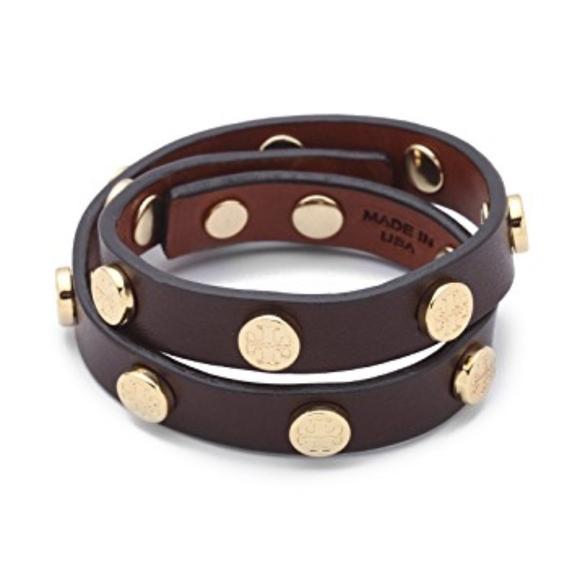 Tory Burch Jewelry - Tory Burch Double Wrap Logo Leather Bracelet